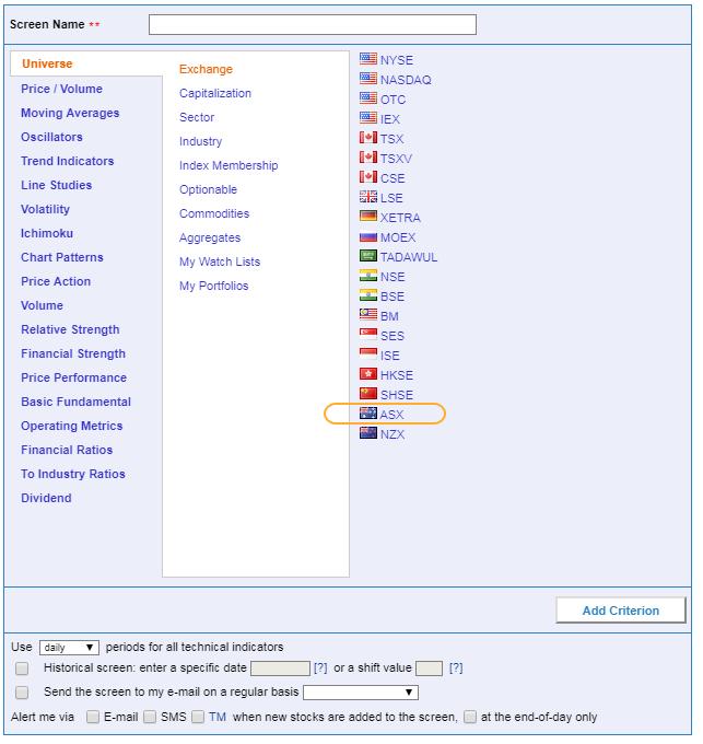 Australian Stock Screener - ASX Stock Screener